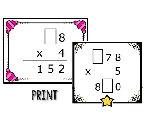 Missing Digits Multiplication Task Cards: Print and