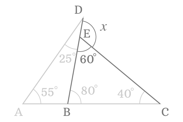 Find the common external angle of two triangles