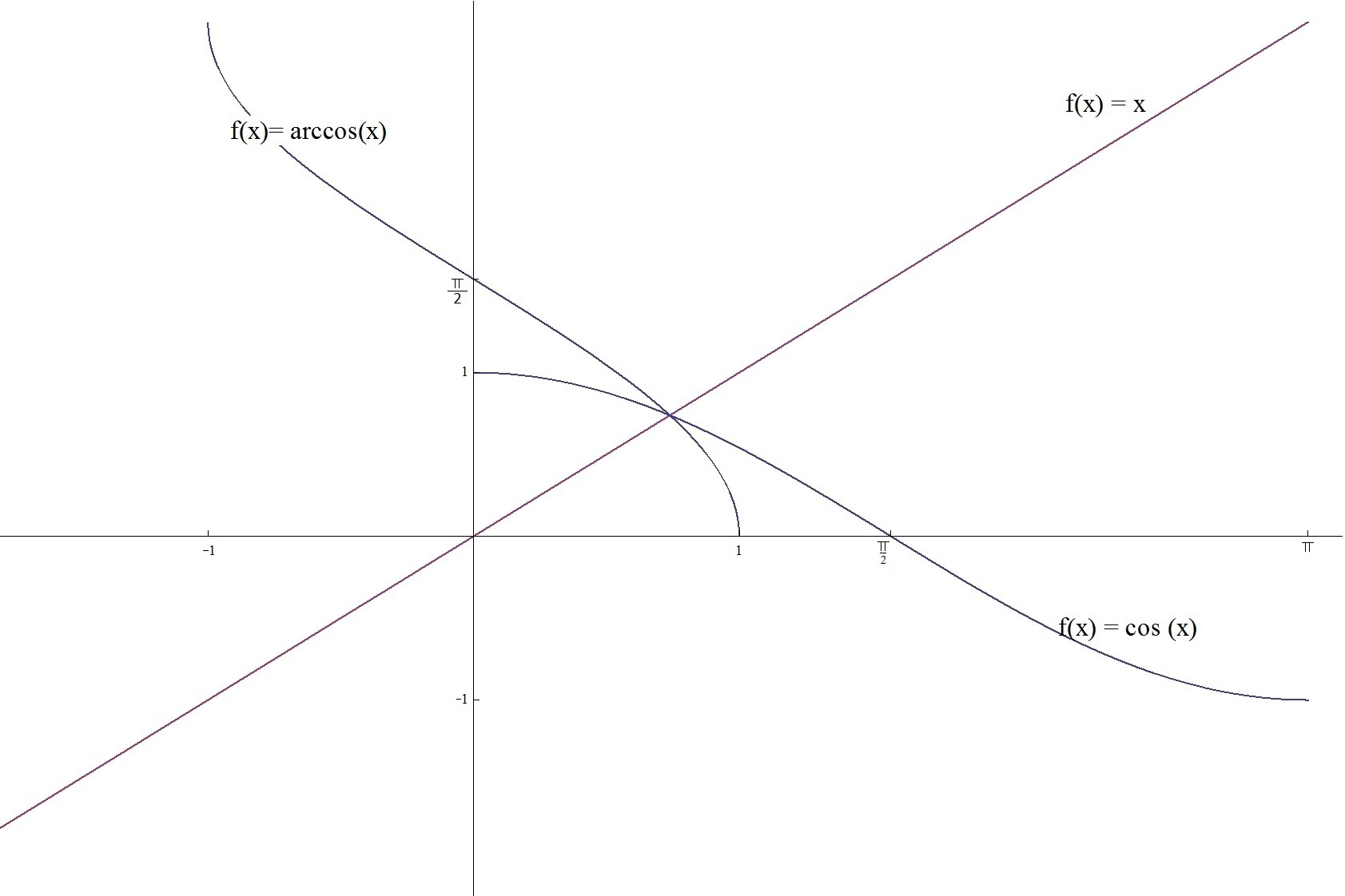 Graph Of Functions X Cosx And Arccosx