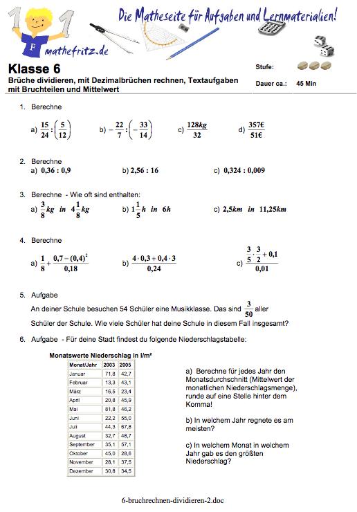 Bruchrechnen bungen Klasse 6  Mathefritz Aufgaben zum