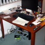 A view of the mess under the work desk