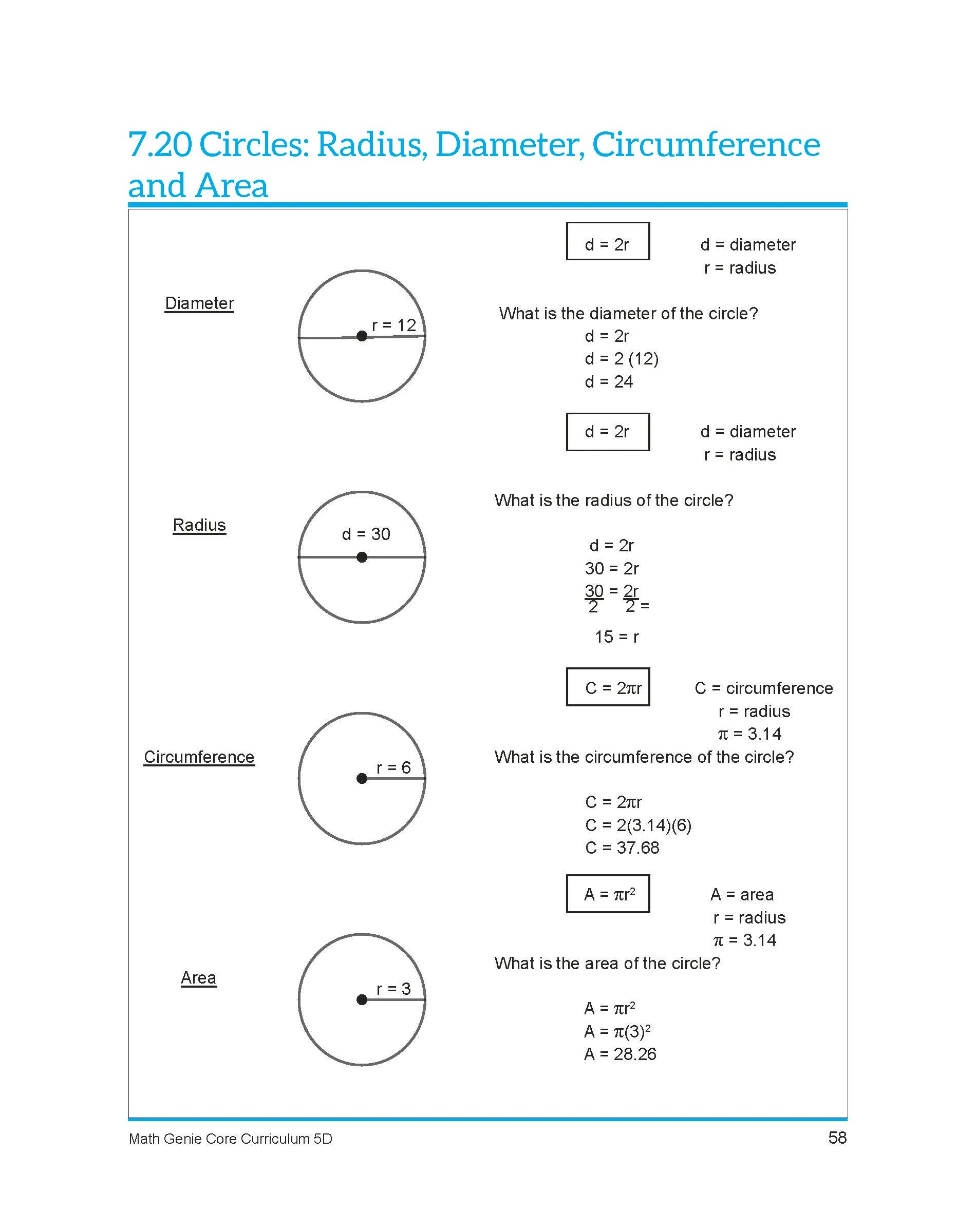 hight resolution of Circumference Radius Diameter Worksheets   Printable Worksheets and  Activities for Teachers