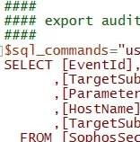 Sophos Datenbank exportieren, Audti-Daten