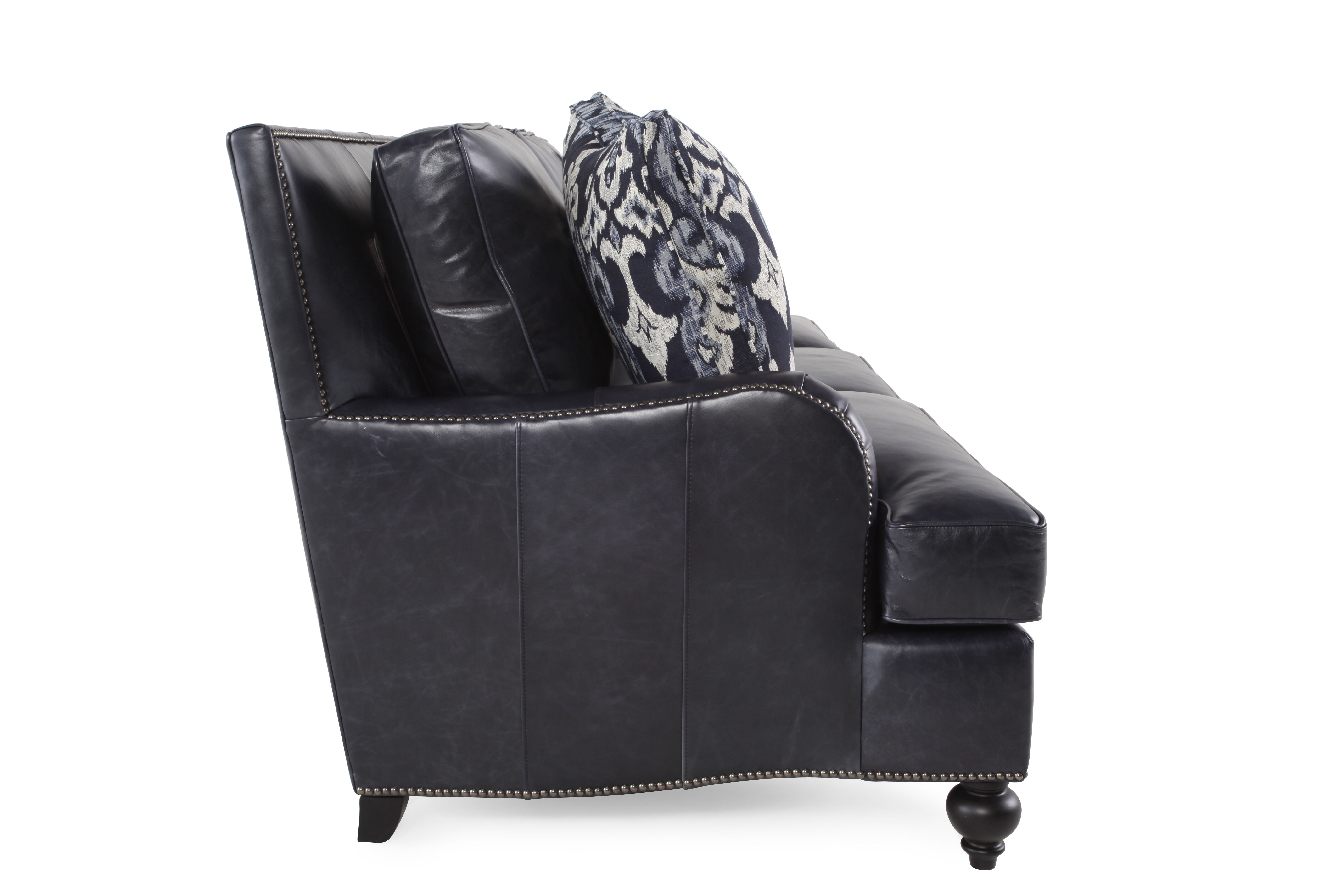 black leather sofa with nailheads latest l shape design 2018 nailhead accented 86 quot in mathis