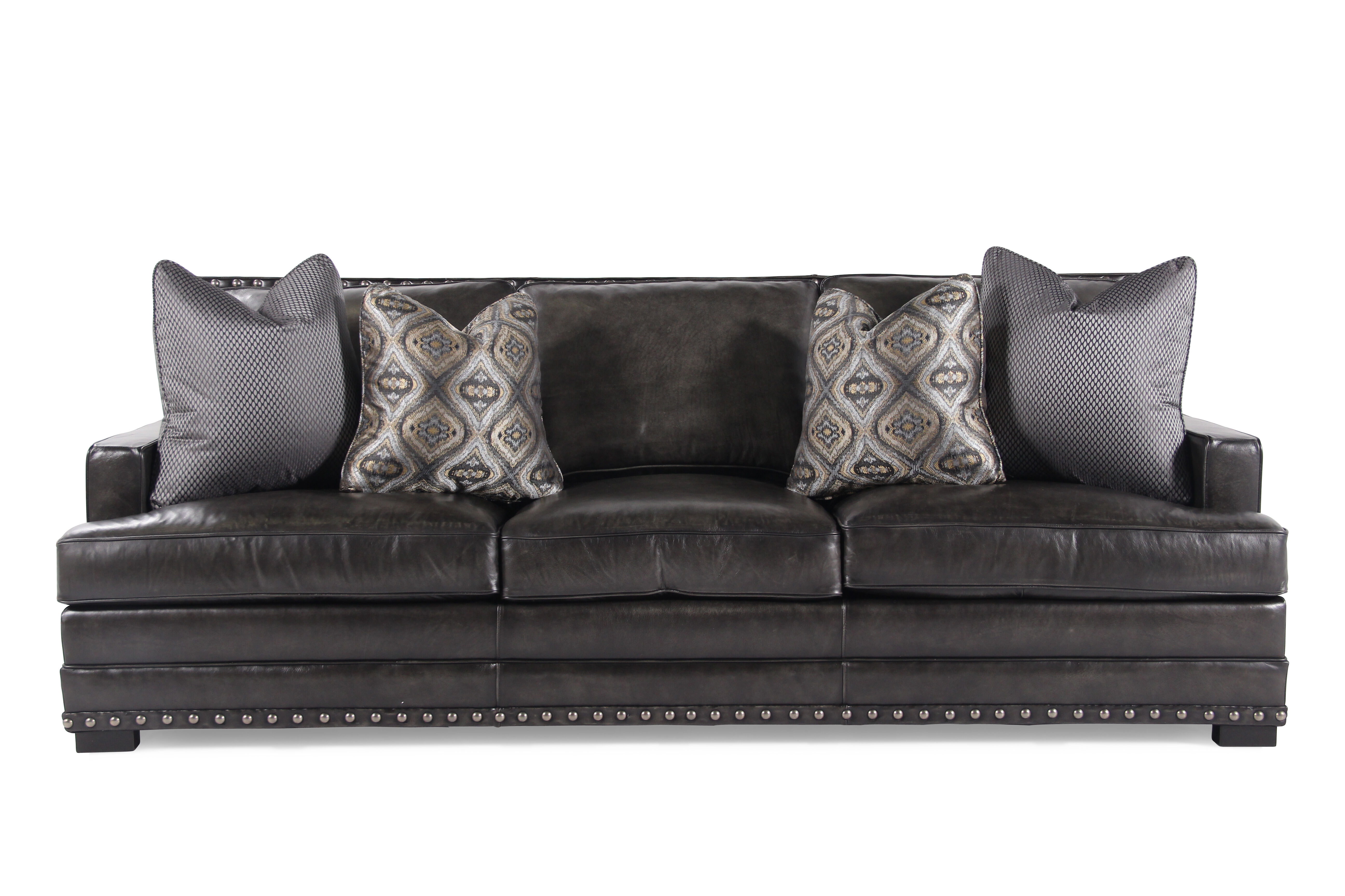 leather nailhead sofa set tiny accented 94 quot in graphite mathis