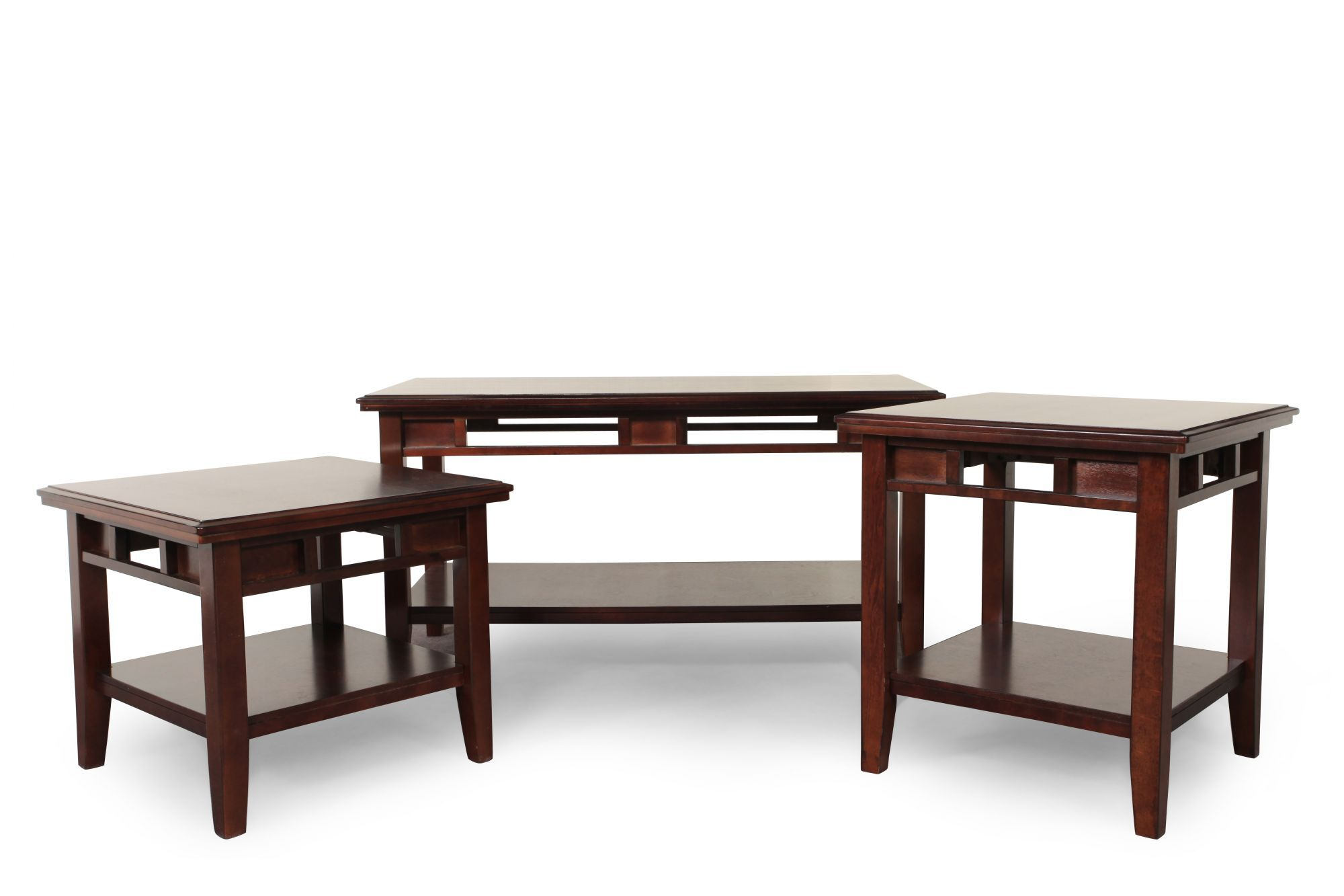 ThreePiece Contemporary Coffee Table Set in Dark Brown