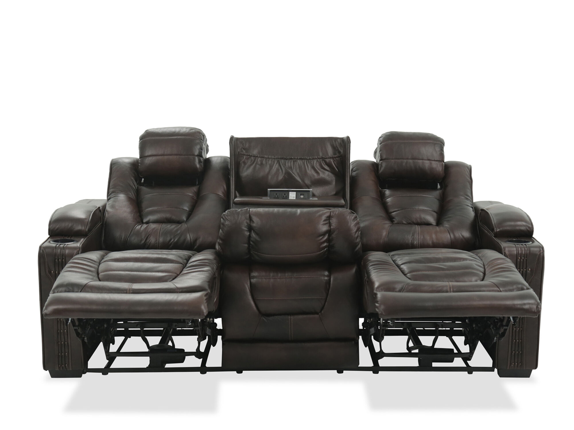 Leather 84 Power Reclining Sofa with Cup Holder in Brown