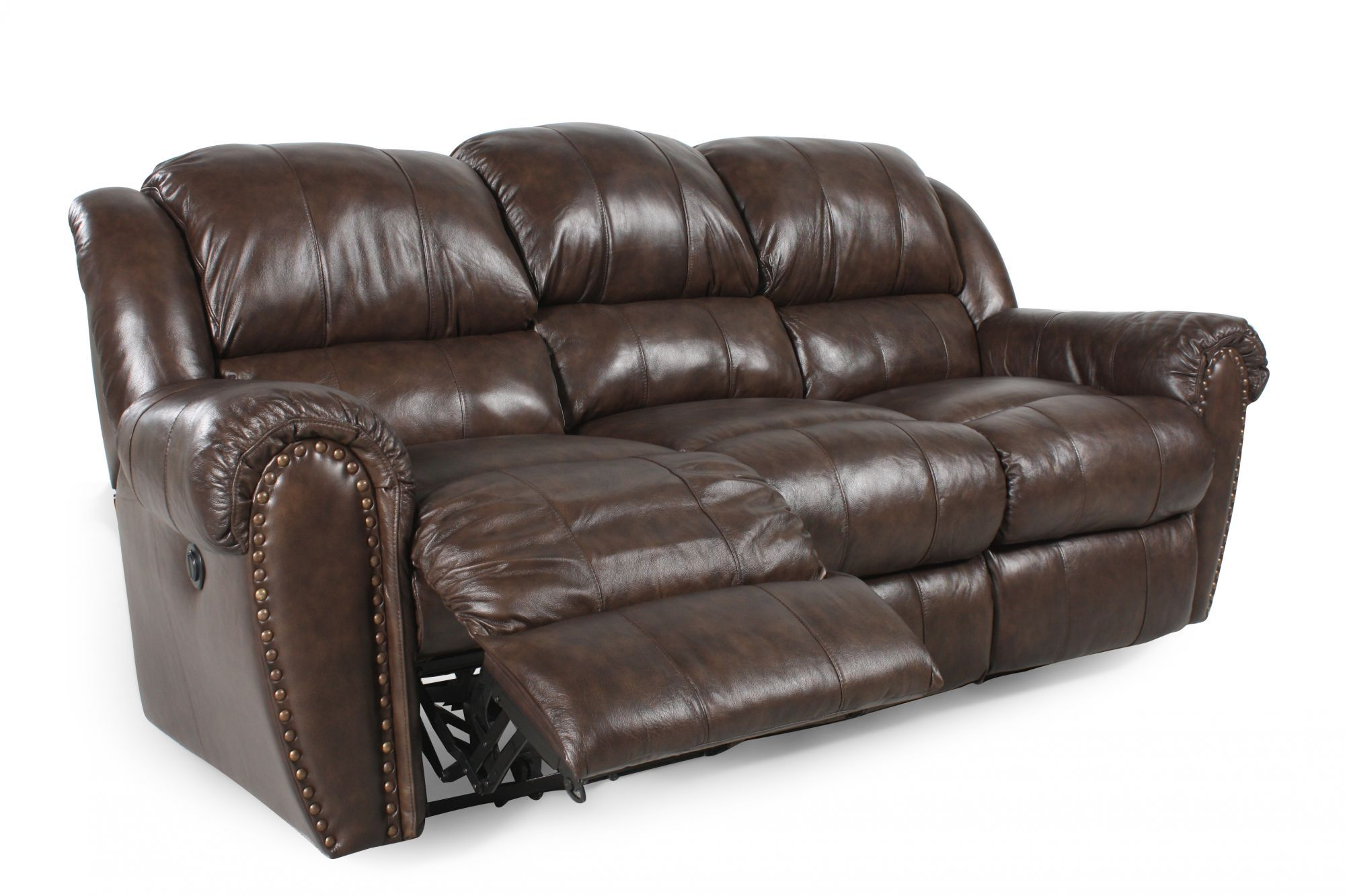nailhead recliner sofa button leather traditional accented reclining in brown
