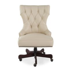 Tufted Desk Chair Slipcovered Dining Leather Button Swivel Tilt In Ivory