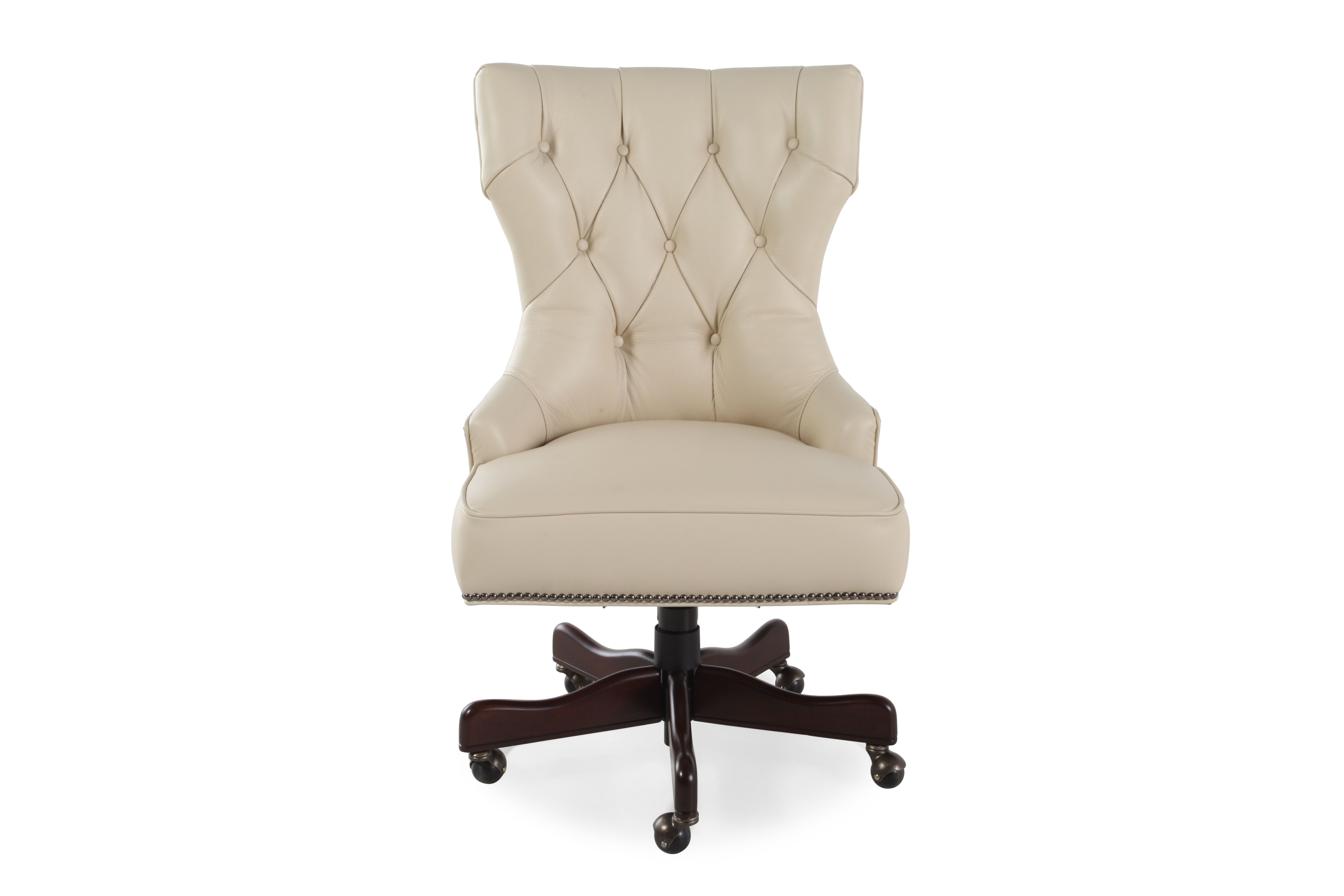 ivory leather office chair clamp on sun umbrella button tufted swivel tilt desk in mathis brothers furniture