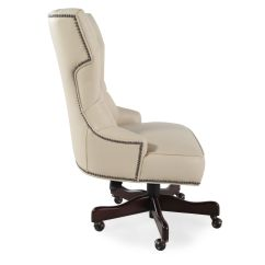 Ivory Leather Office Chair Plastic Rail Moulding Button Tufted Swivel Tilt Desk In Mathis Nbsp