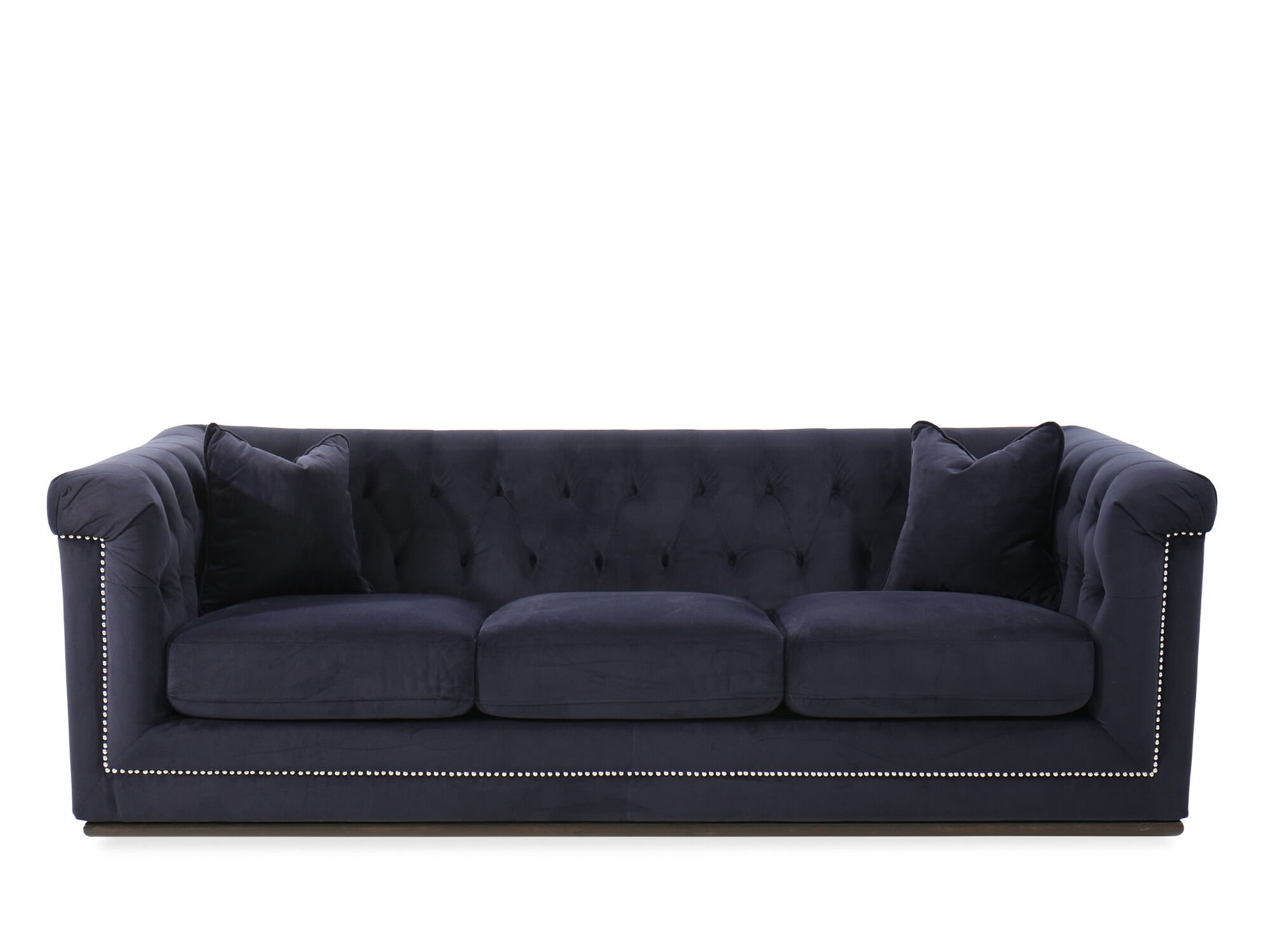 tufted button sofa pottery barn chesterfield manufacturer velvet 93 in blue mathis brothers furniture