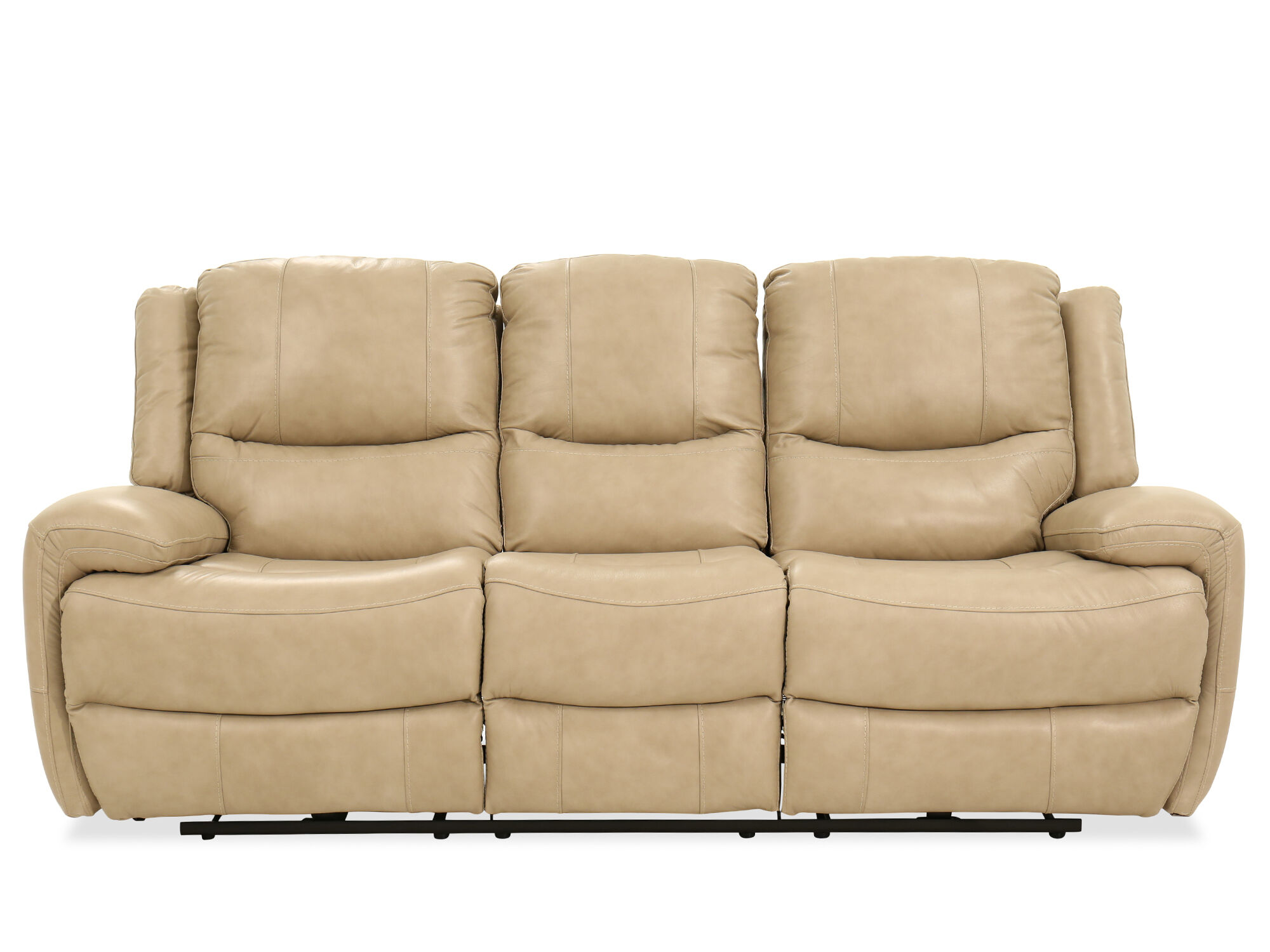Leather Power Reclining Sofa In Stone Mathis Brothers Furniture