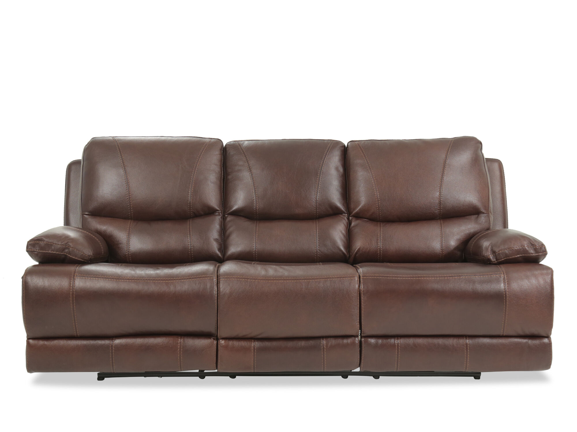 reclining sofa leather brown blue sofas ikea 89 quot power in mathis