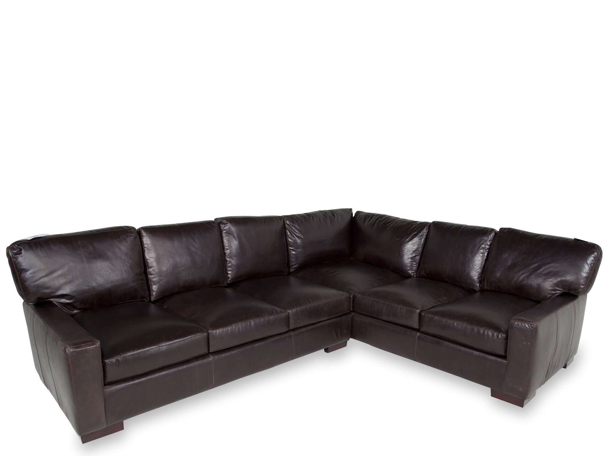 low profile leather sectional sofa wine king bueno two piece 106 quot in mahogany