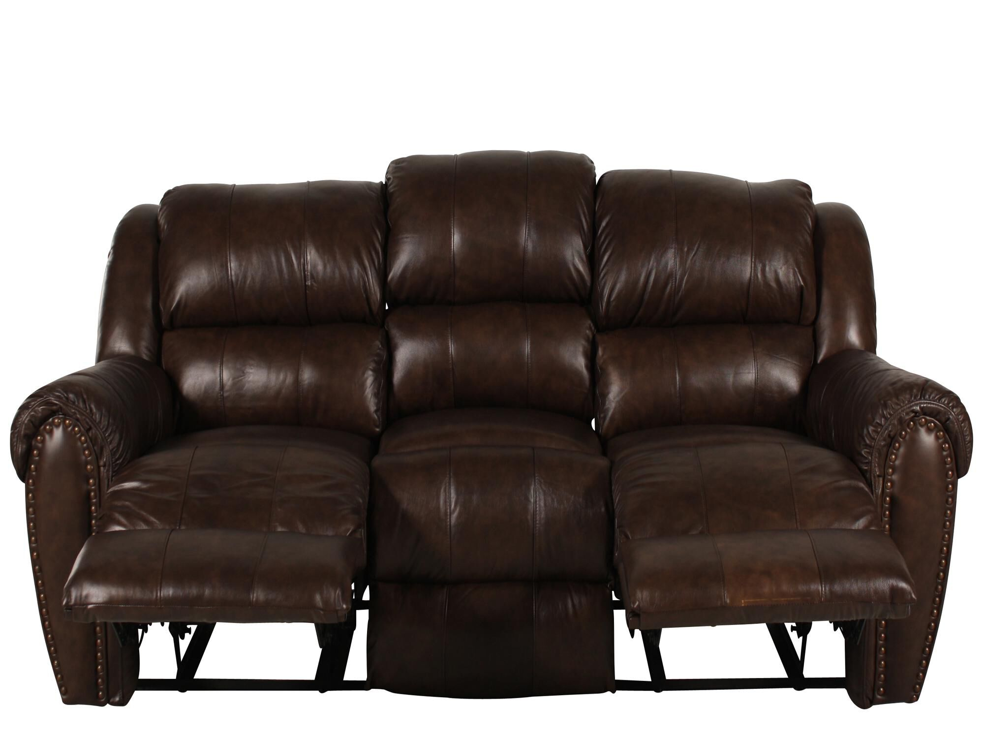 nailhead recliner sofa camas baratos madrid traditional accented 89 quot reclining in brown