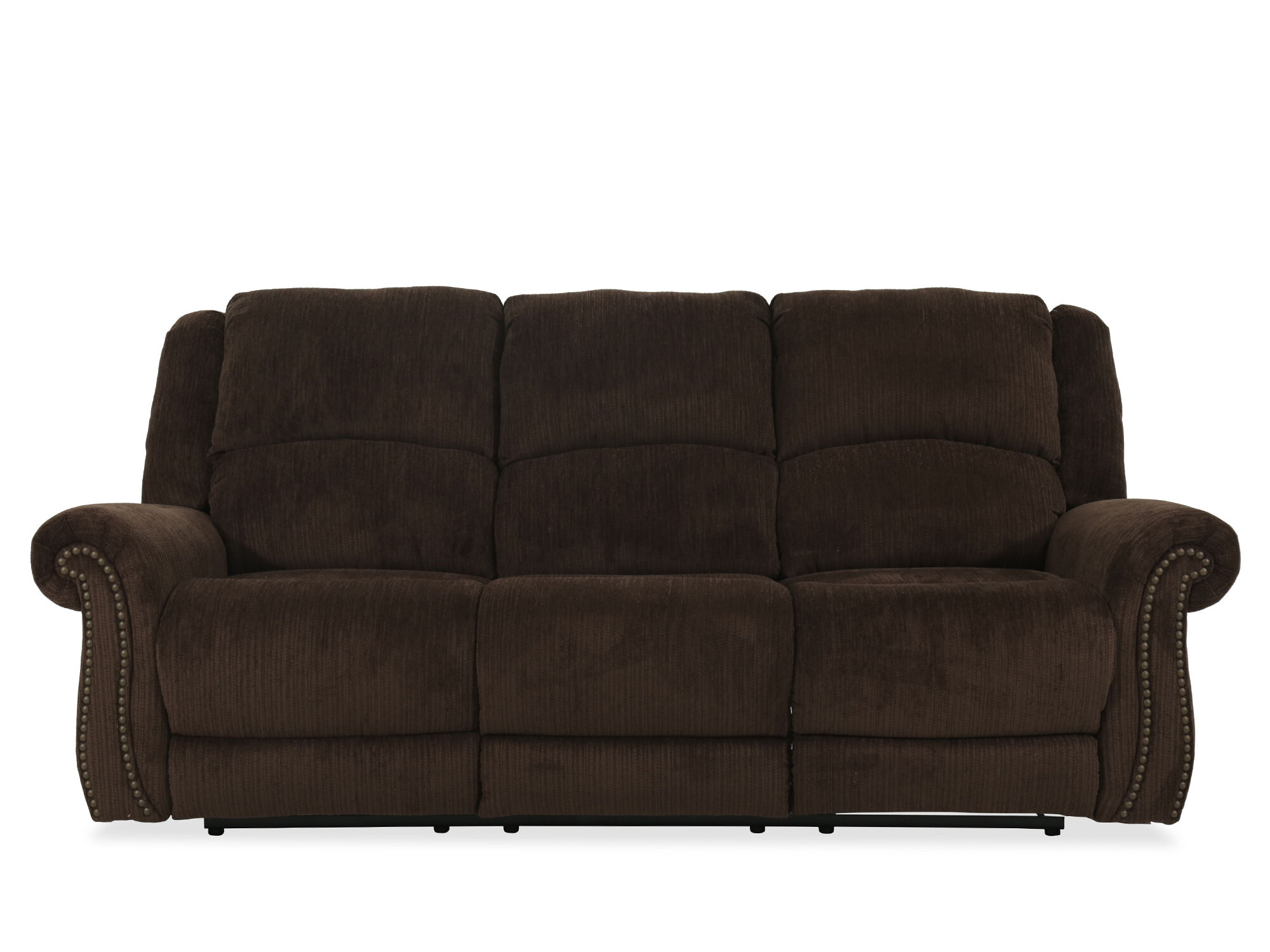 nailhead recliner sofa target mickey mouse flip out accented 90 quot power reclining in brown