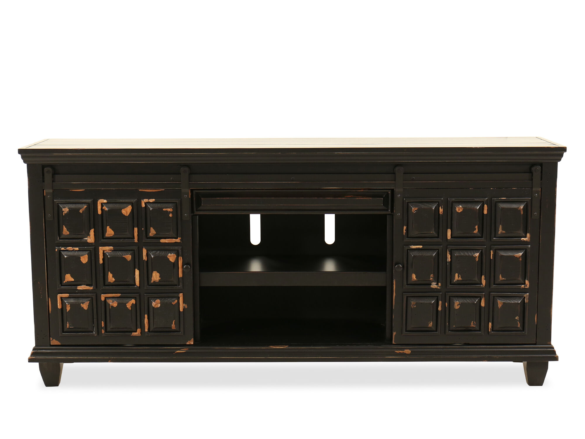 Paneled Sliding Door Traditional Console In Black Mathis