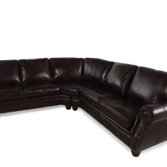2 Piece Brown Leather Sofa Friheten Review Two 232 Quot Nailhead Accented Sectional In