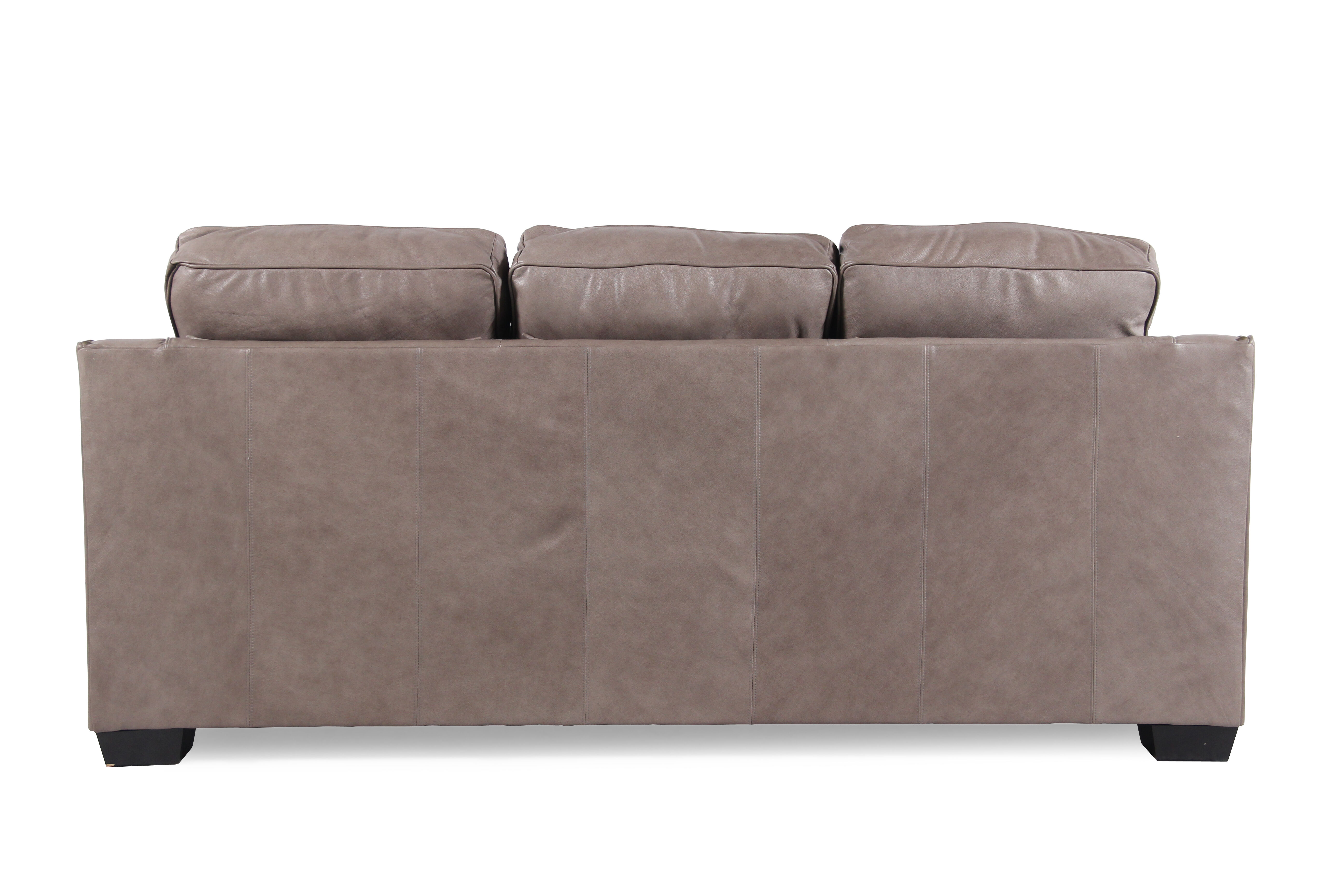 low profile leather sectional sofa glass and chrome table nailhead accented 84 quot in chestnut
