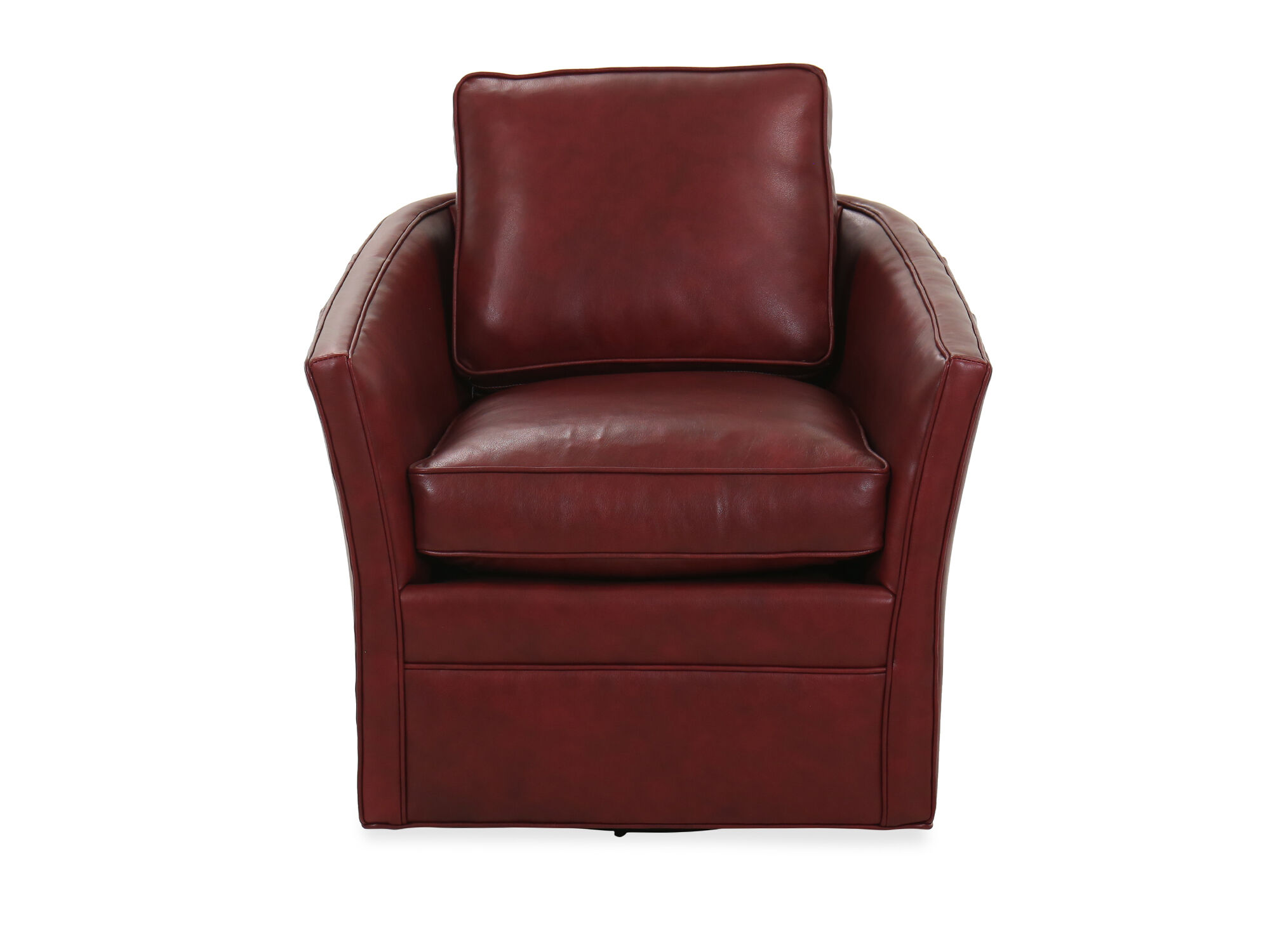 Leather 325 Swivel Tub Chair In Red Mathis Brothers