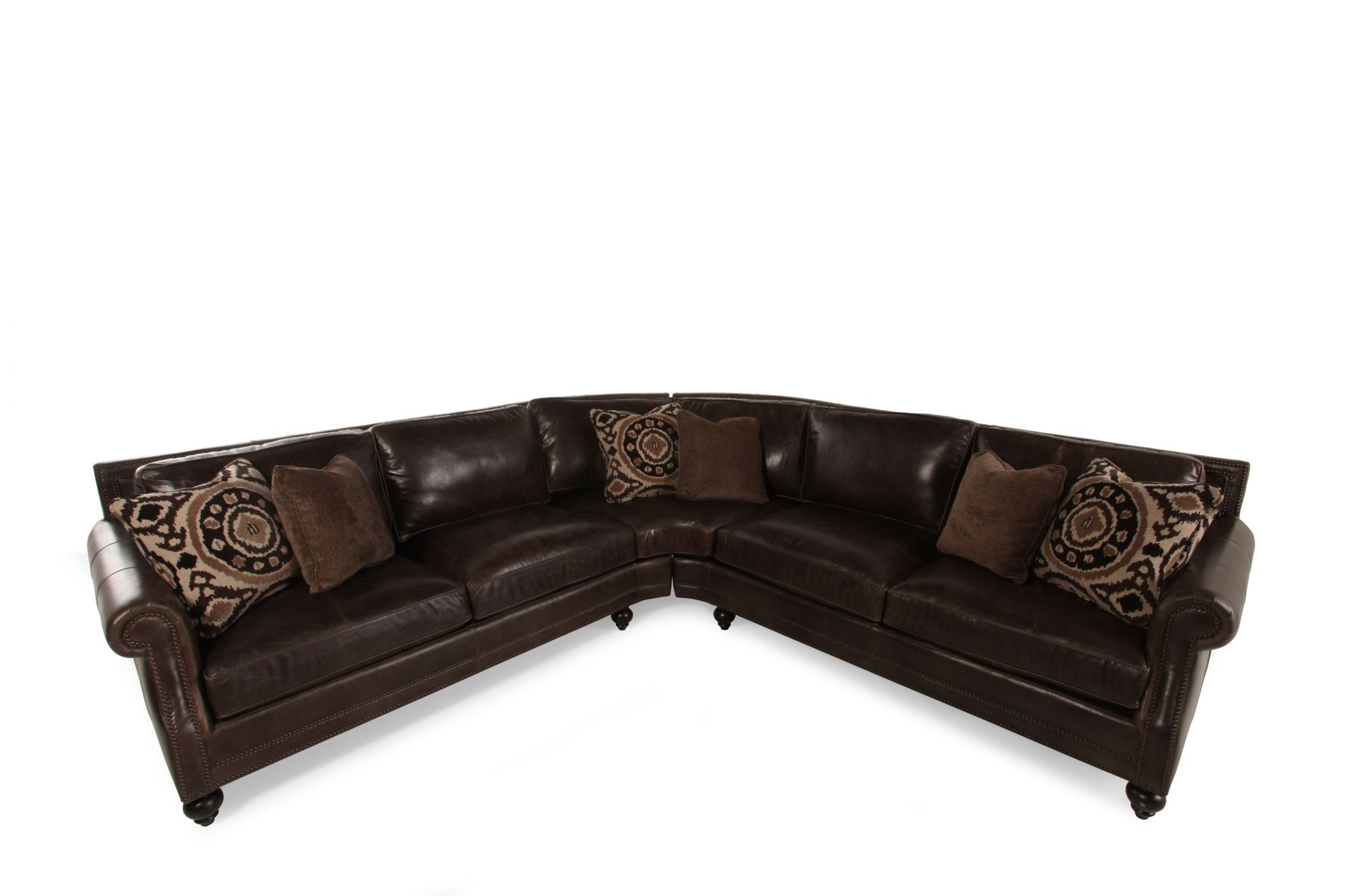 2 piece brown leather sofa theater in chennai two 119 quot sectional dark mathis