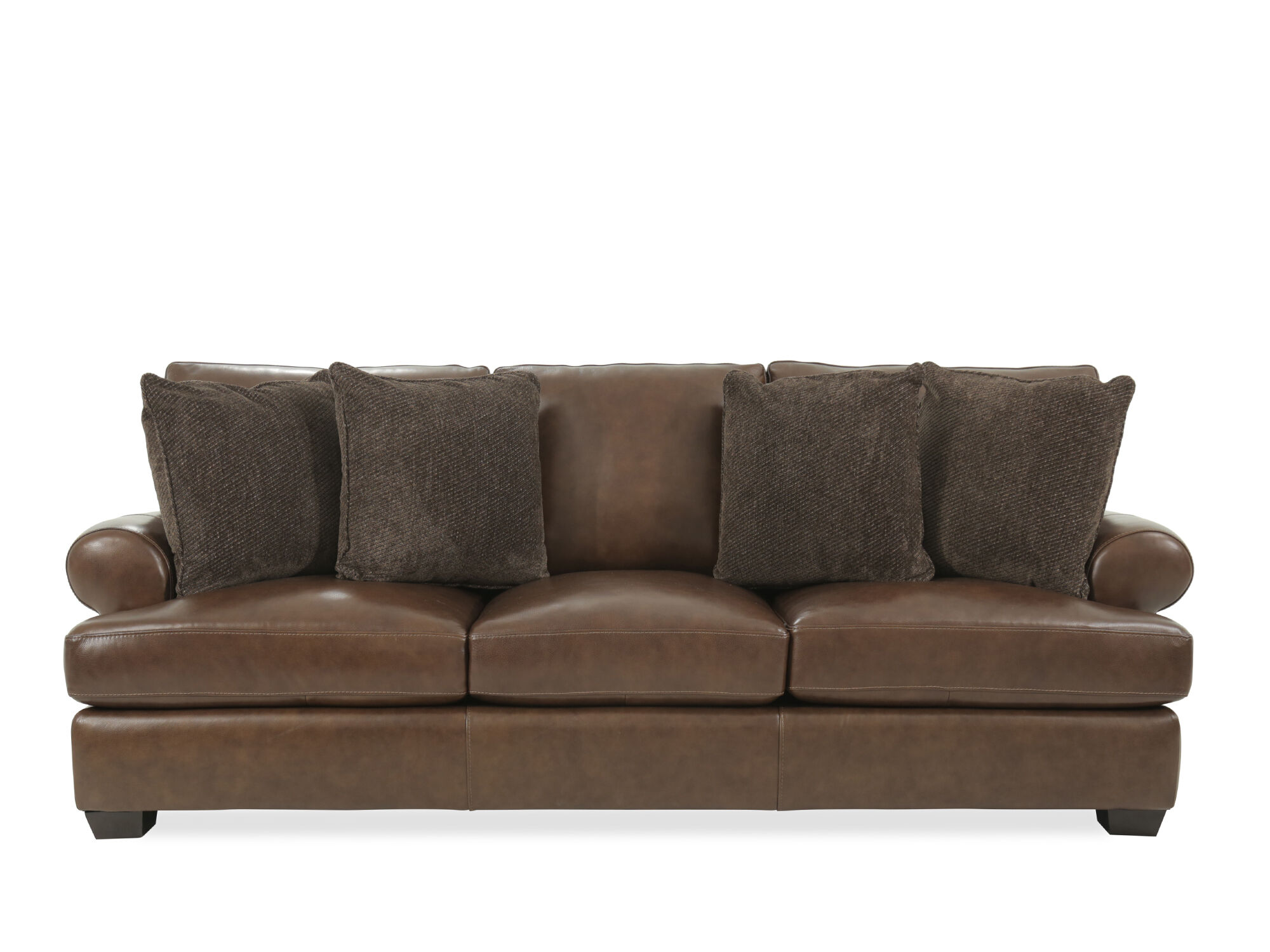 tindall 96 leather sofa glider chair quot in brown mathis brothers furniture