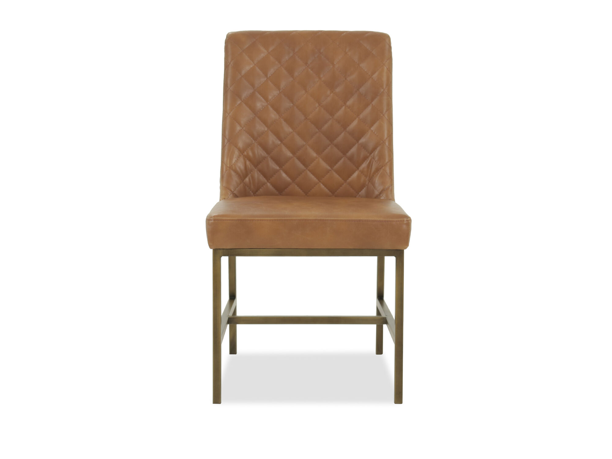 leather tufted dining chair folding high uk 20 quot in caramel mathis