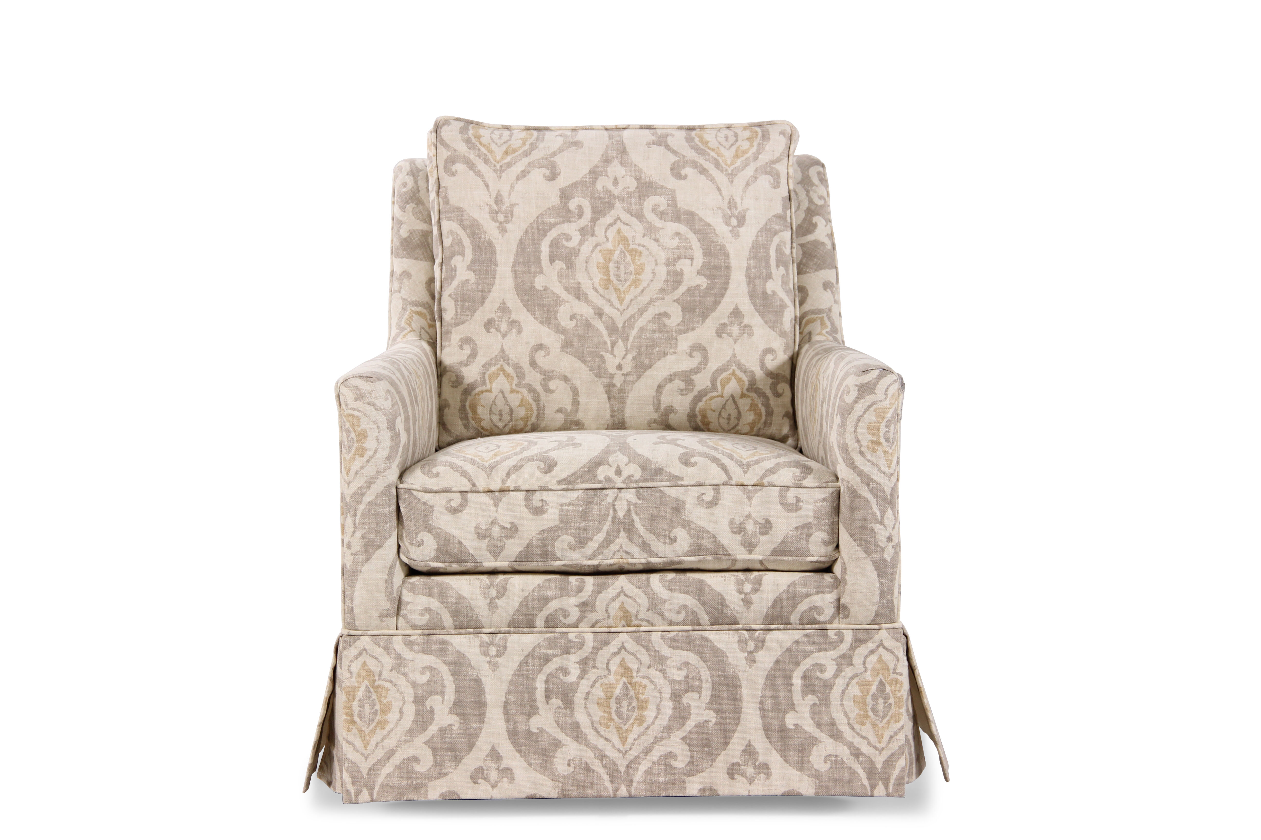 transitional accent chairs desk ikea paisley patterned 29 5 quot swivel chair in cream