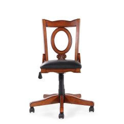 Oval Office Chair Windsor Dining Leather Open Back Swivel Tilt In Cherry