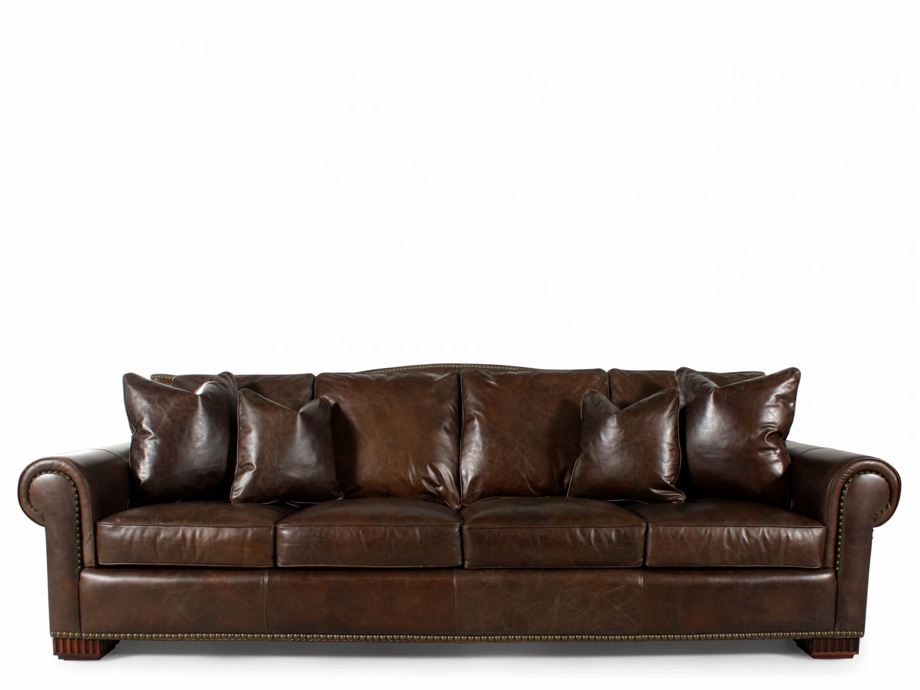 corey chocolate brown sectional sofa world market apel reviews nailhead accented leather in mathis
