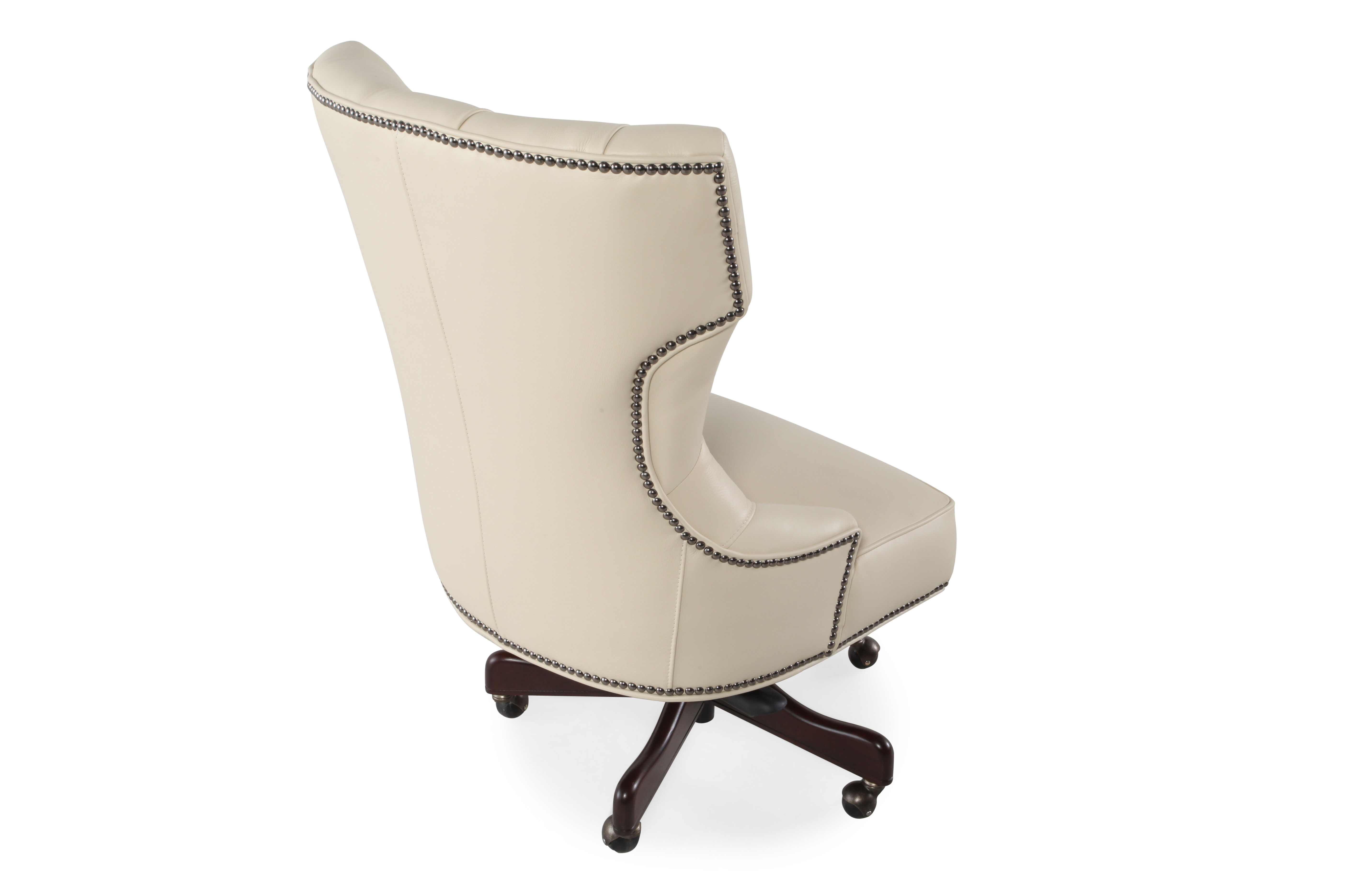 ivory leather office chair rolling bath chairs elderly button tufted swivel tilt desk in