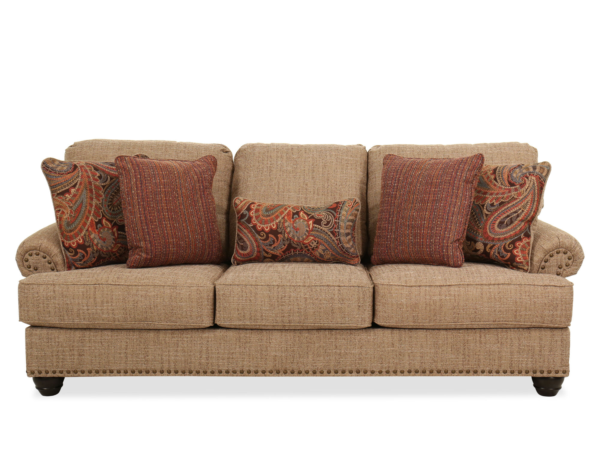 92 Nailhead Trimmed Casual Sofa In Beige Mathis