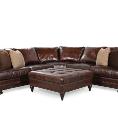 2 Piece Brown Leather Sofa Modern Benches Two 115 Quot Sectional With Ottoman In