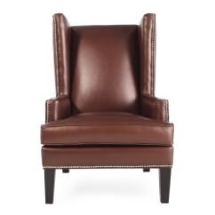 Nailhead Wingback Chair Ergonomic Manufacturers Trimmed Leather Wing In Chestnut Mathis