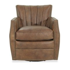 Swivel Chair Brown Top 10 Massage Chairs Nailhead Trimmed Leather 30 Quot Club In