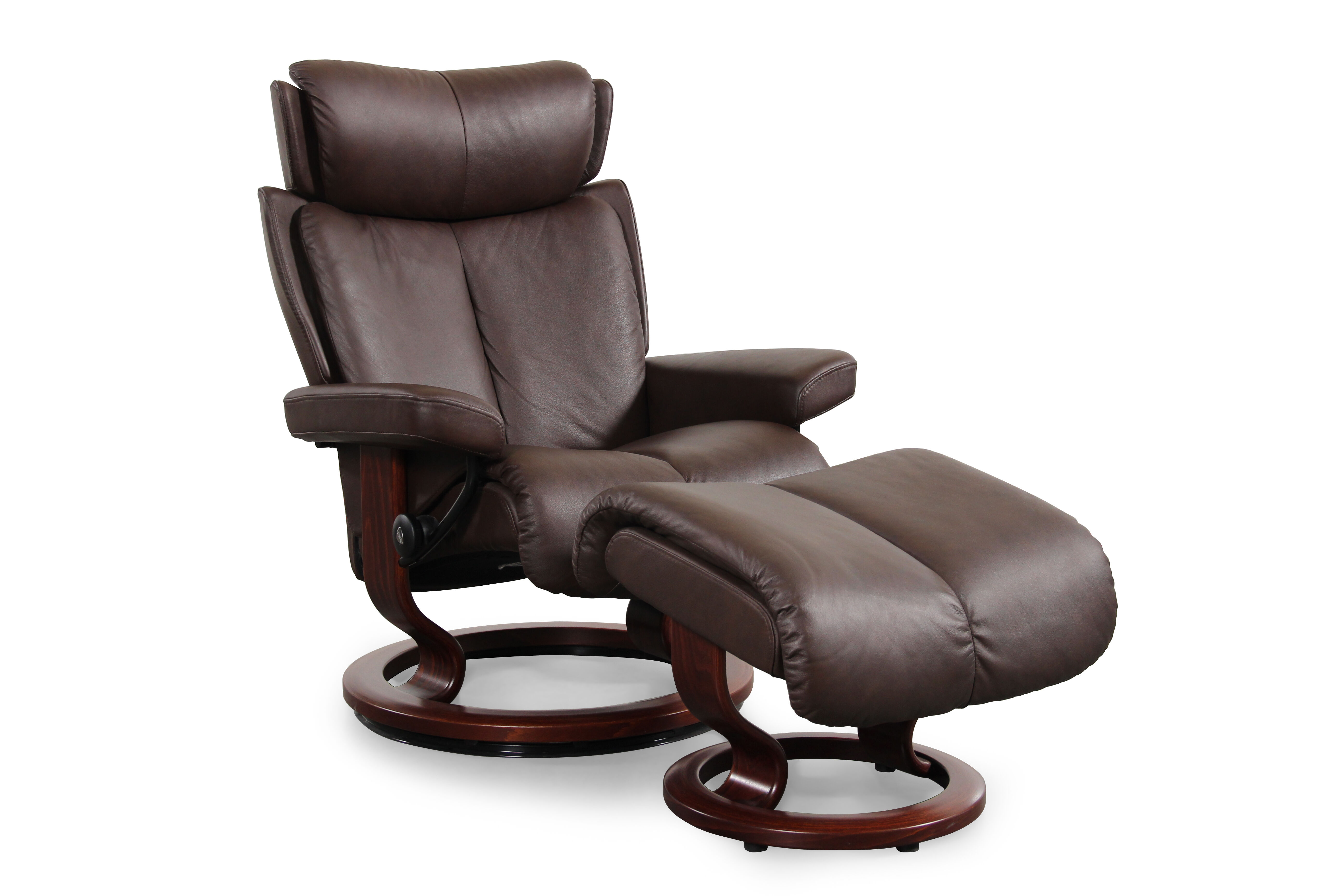 Contemporary Medium Swivel Chair and Ottoman in Chocolate