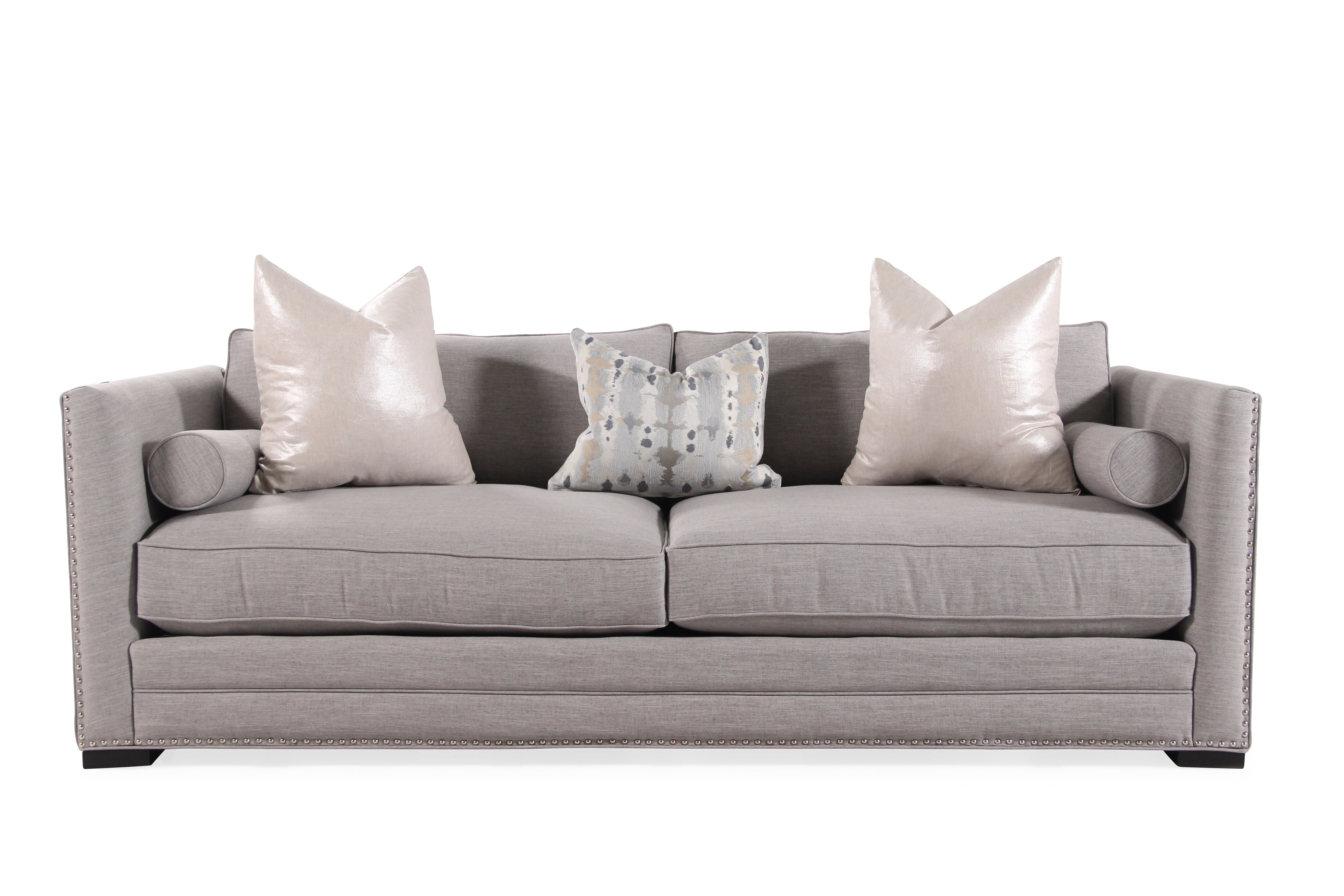 grey carleton nailhead sofa turner leather knockoff low profile accented 41 quot in oyster gray