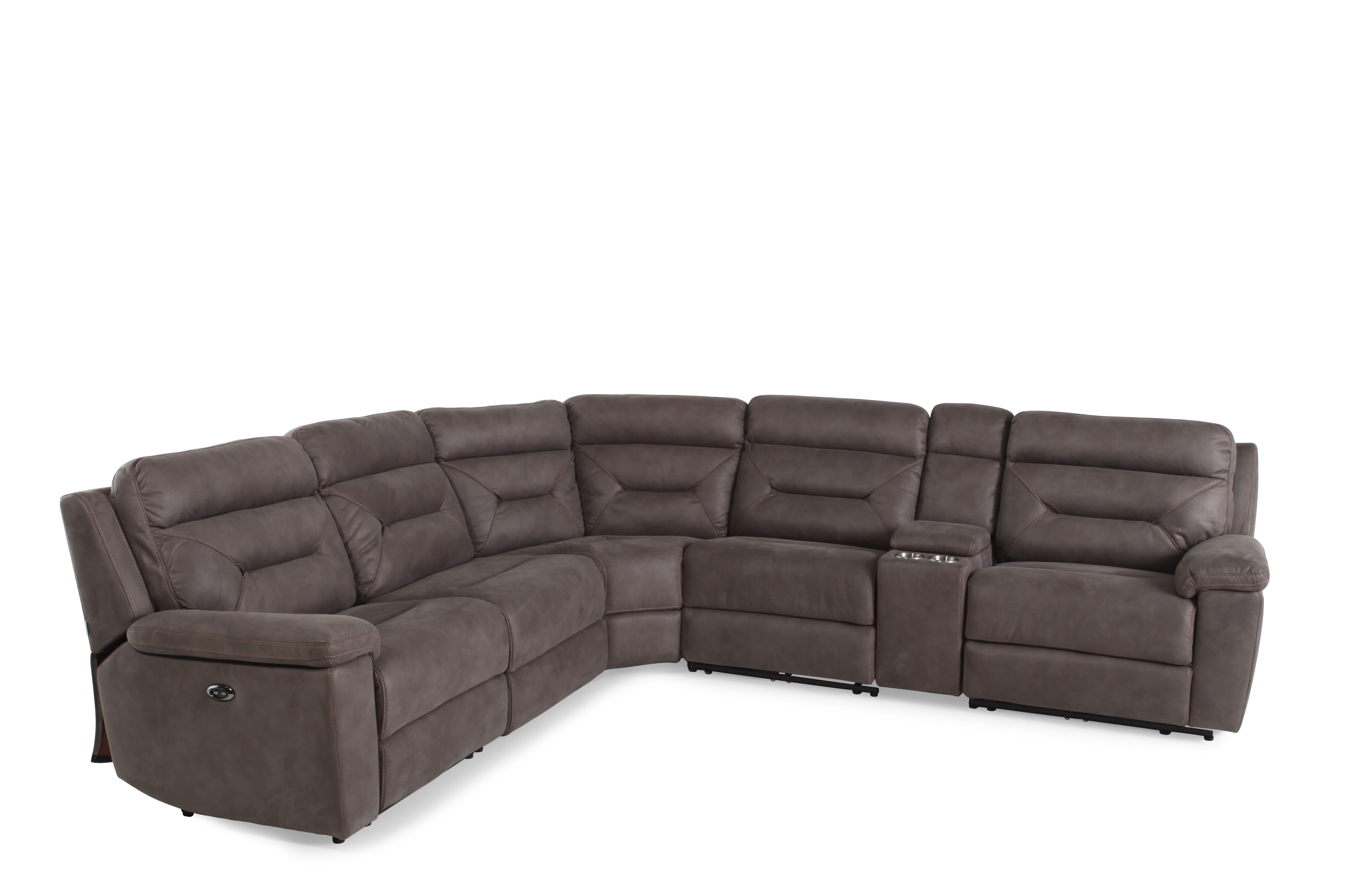 gray microfiber sectional sofas toddler sofa couch six piece 168 quot power reclining in