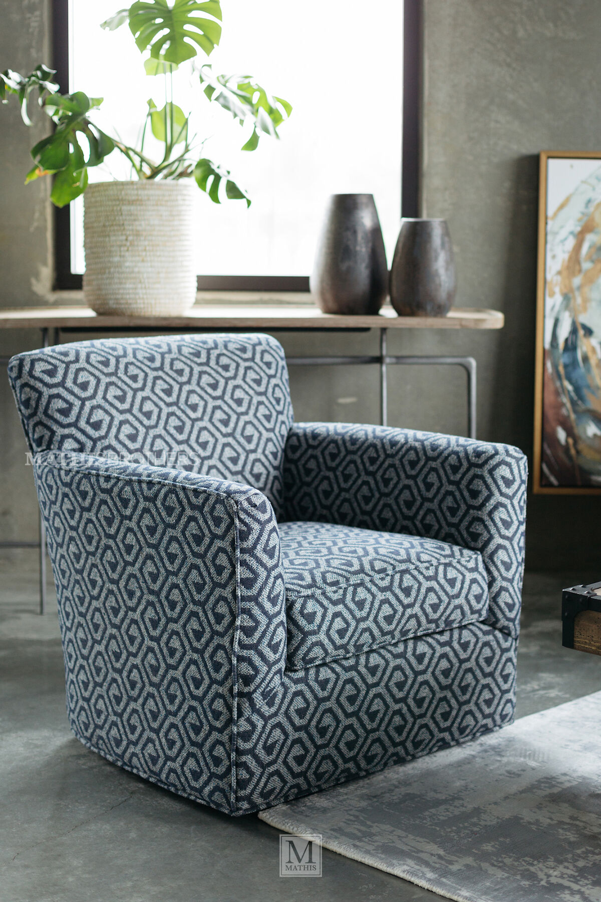 patterned living room chairs ladder back chair geometric contemporary 34 quot swivel in gray