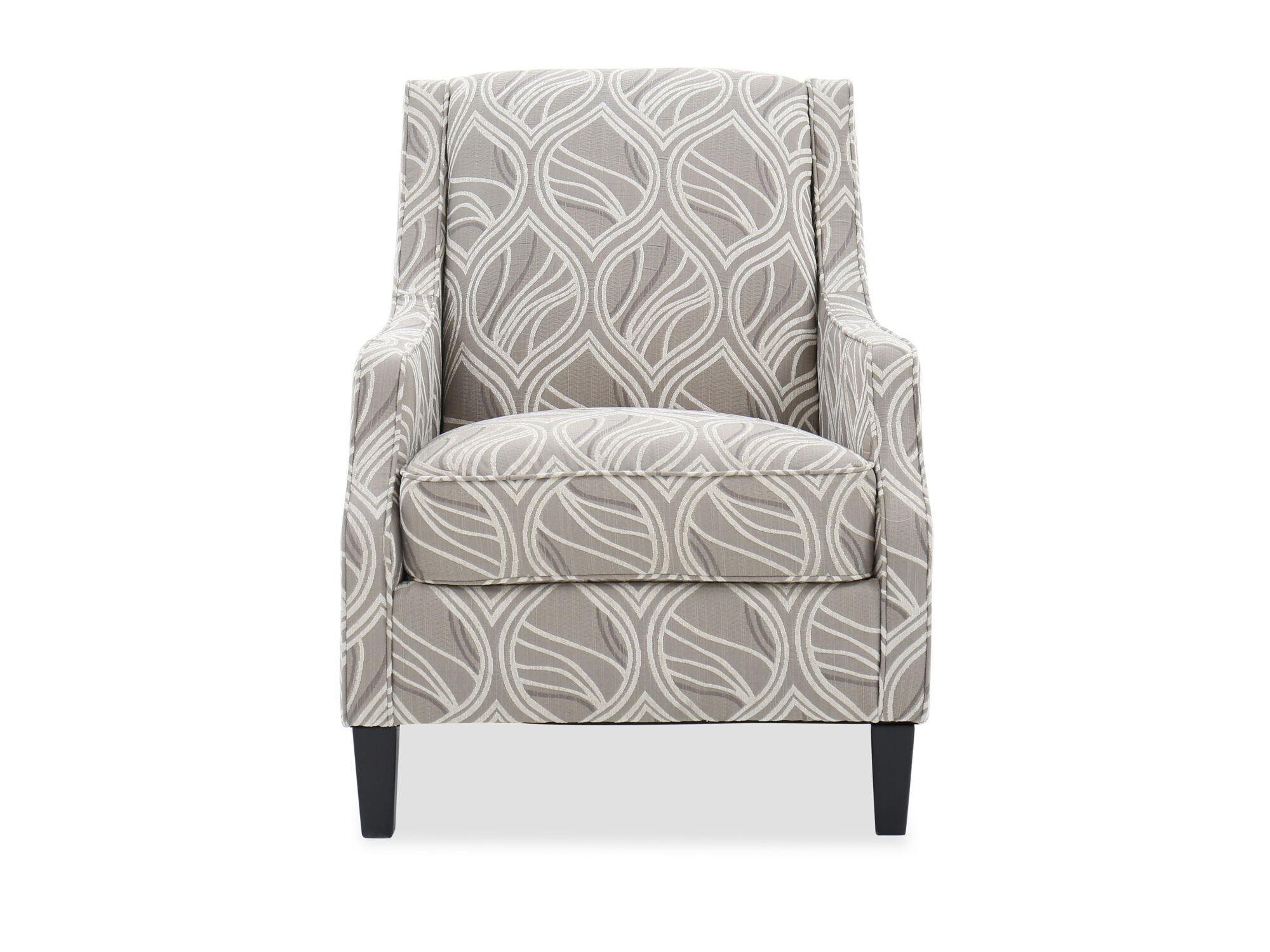Leaf Patterned Contemporary 30 Accent Chair in Beige