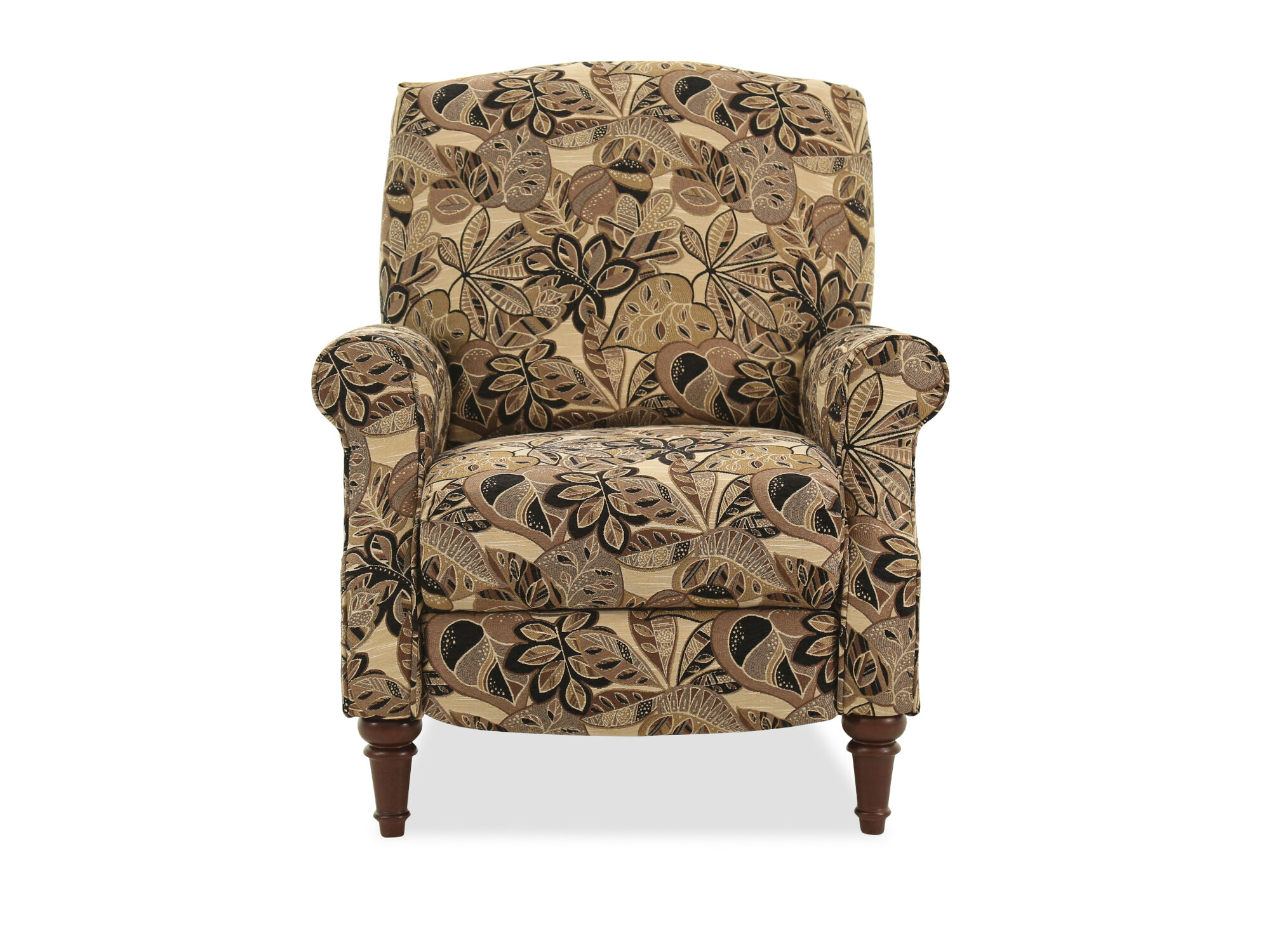 FloralPatterned 32 HighLeg Pressback Recliner in Brown