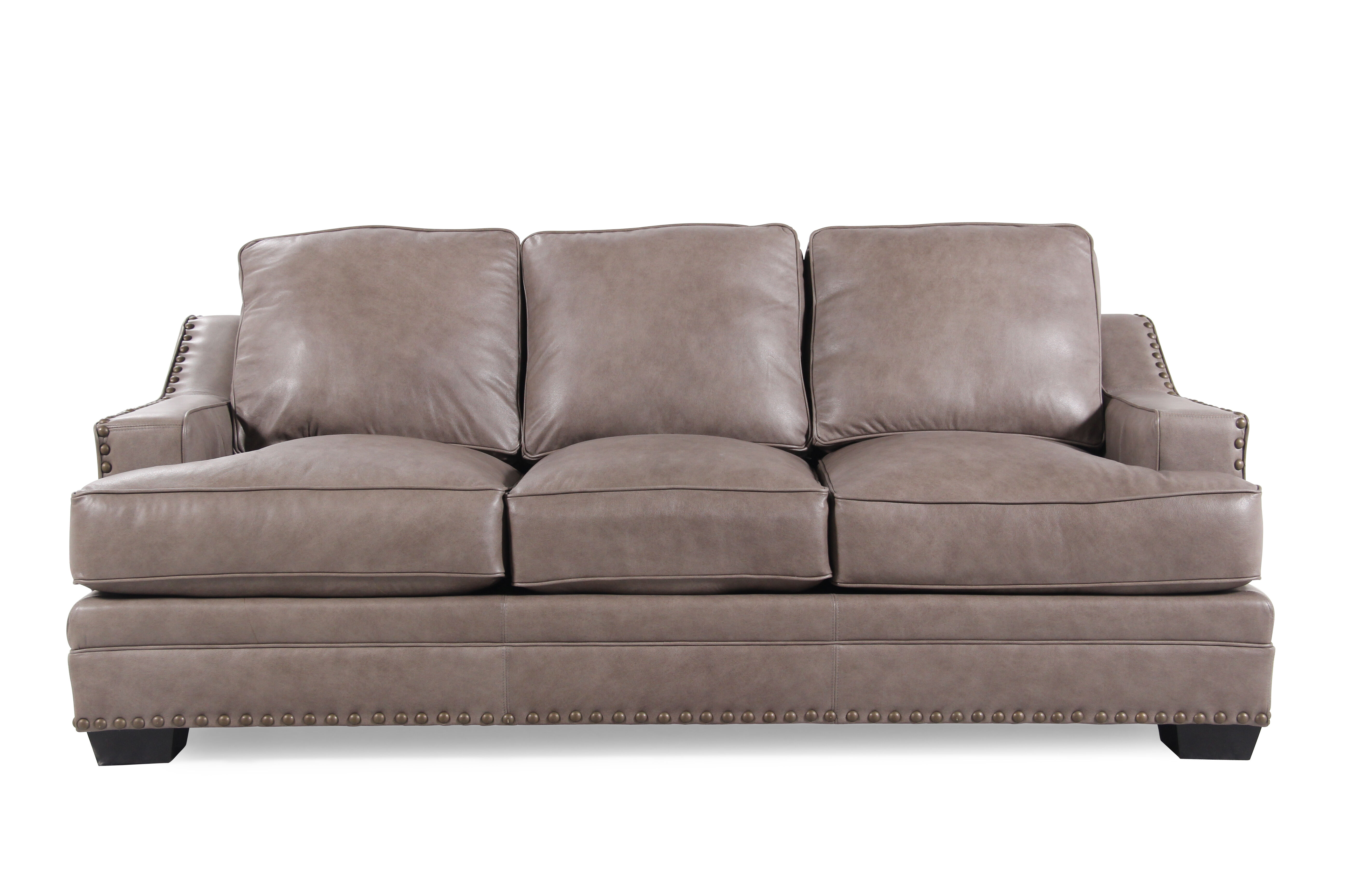 low profile leather sectional sofa toddler chair nailhead accented 84 quot in chestnut