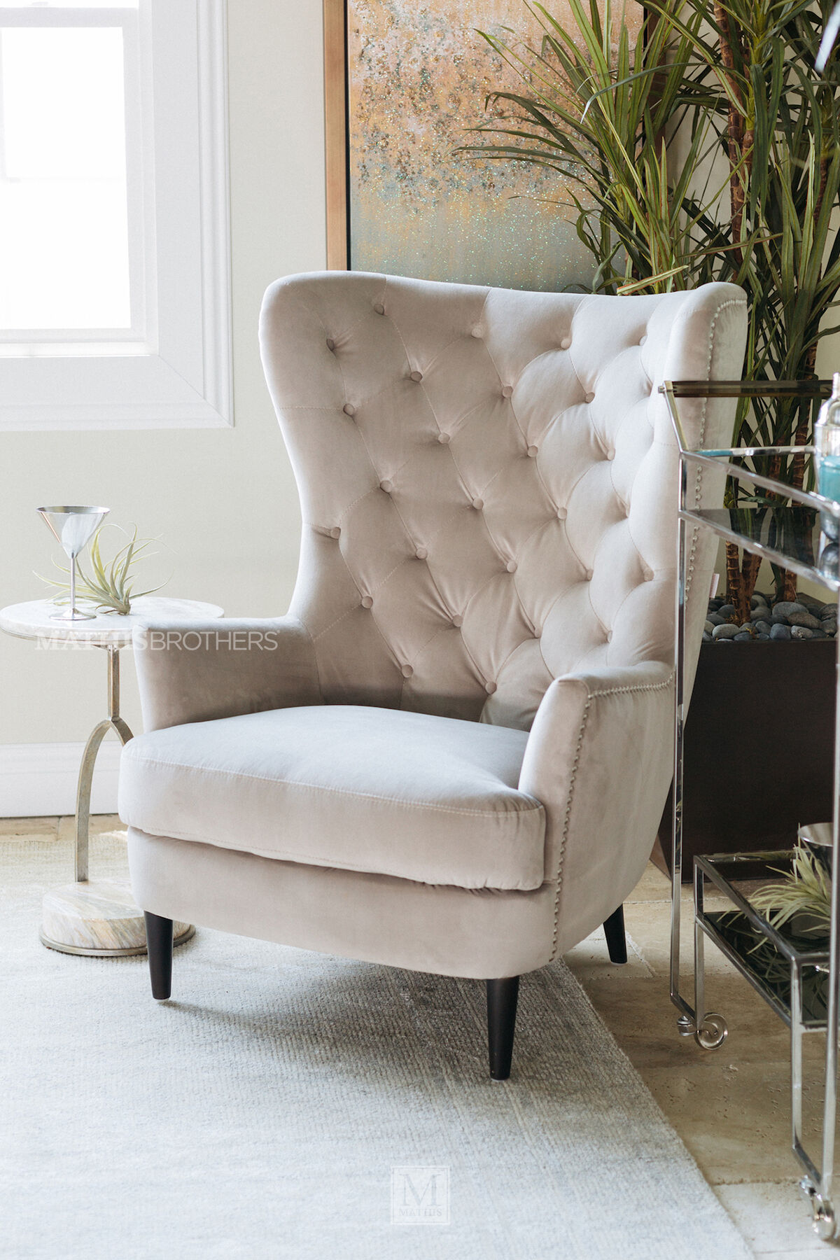 accent wingback chairs where can i buy chair covers in canada for living room mathis brothers button tufted contemporary 33 quot granite