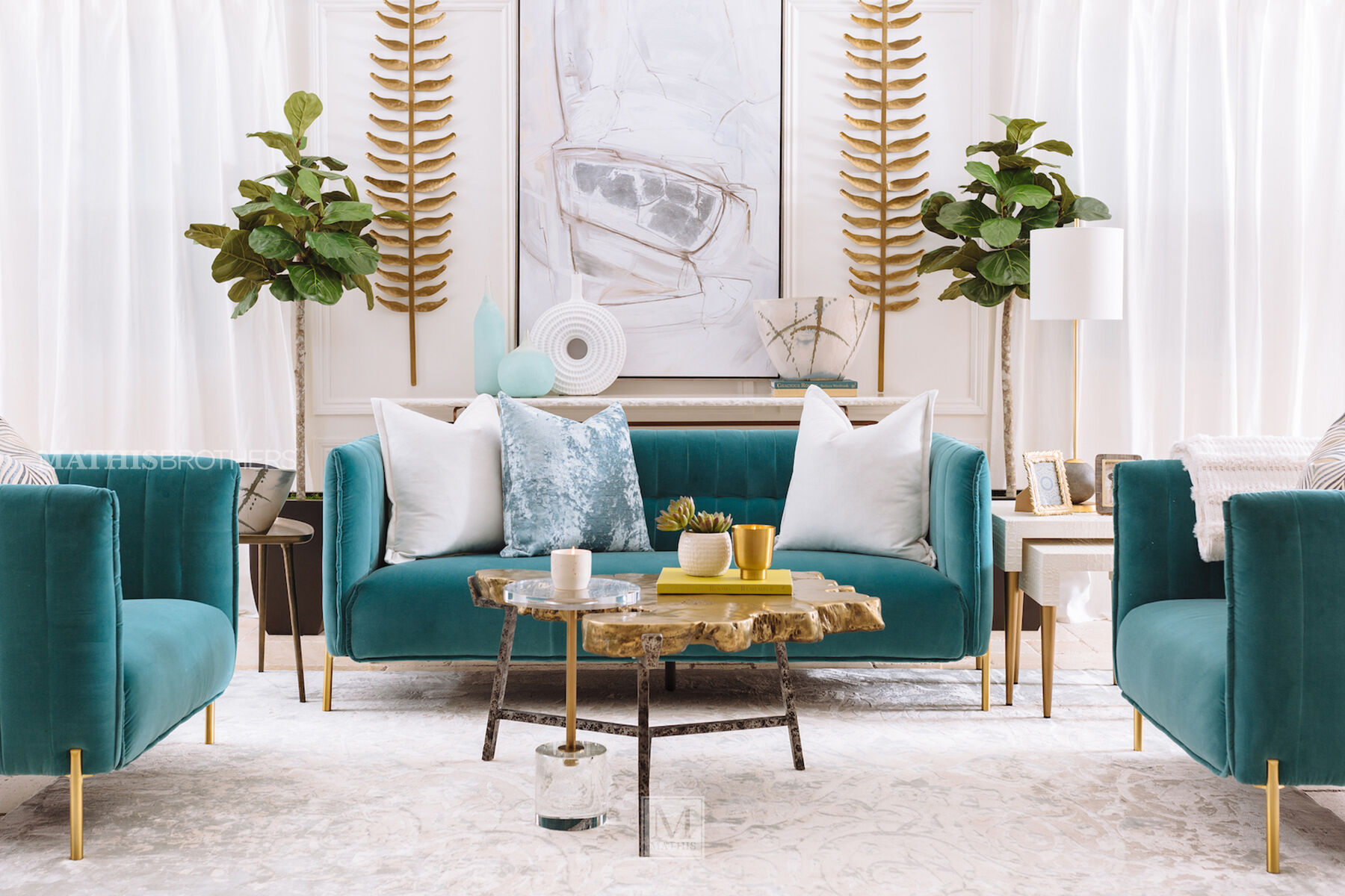 Contemporary Channel Tufted Sofa In Turquoise Mathis