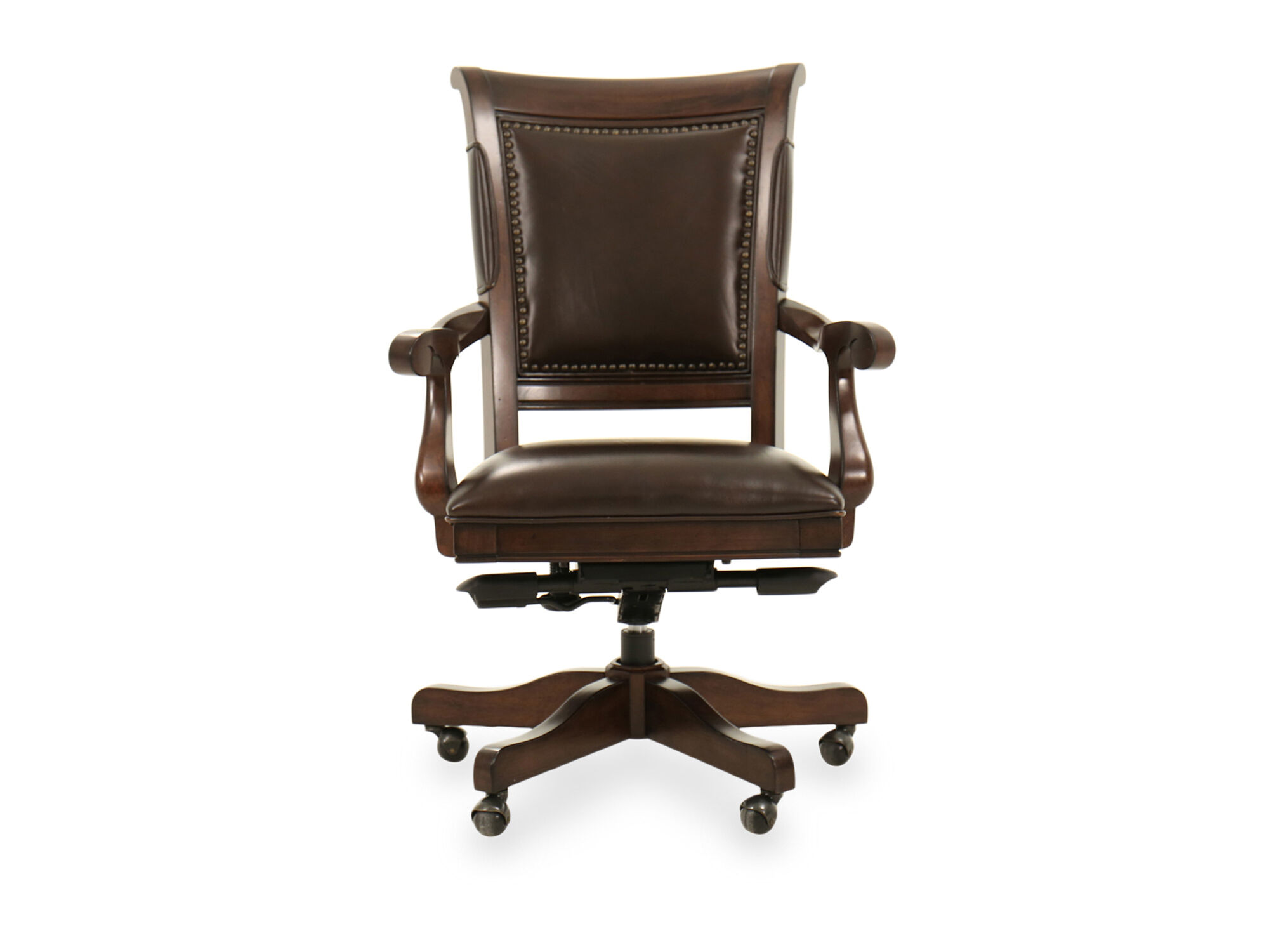 desk chair legs stool work five leg leather arm in brown mathis brothers