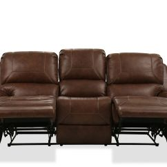Nailhead Recliner Sofa Dark Red Leather Contemporary Accented 89 Quot Reclining In Brown