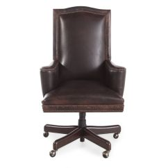 Leather Desk Chairs Three In Spanish Nailhead Trimmed Swivel Tilt Chair Russet