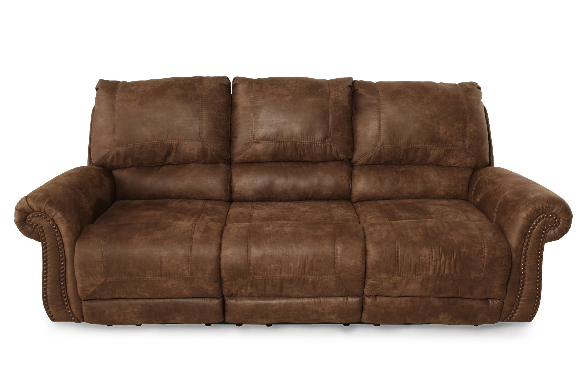 dark brown microfiber sofa best recliner leather nailhead accented 89 quot in