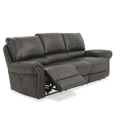 Nailhead Recliner Sofa Divani Casa Polaris Mini Contemporary Bonded Leather Sectional Accented 89 Quot Power Reclining In Black